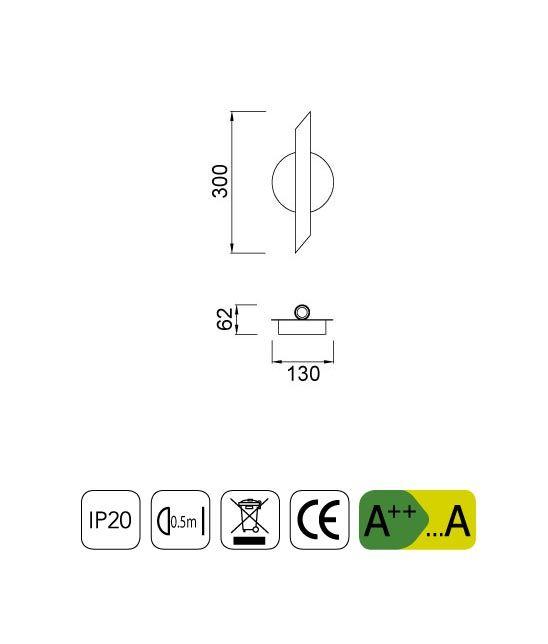 Medidas apliques pared LED minimalista blanca TAKE