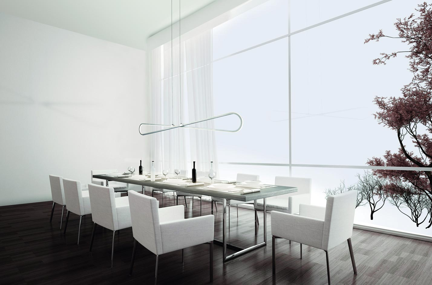 Colgante lineal moderno BUCLE LED ambiente