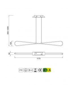 Medidas colgante lineal moderno BUCLE LED