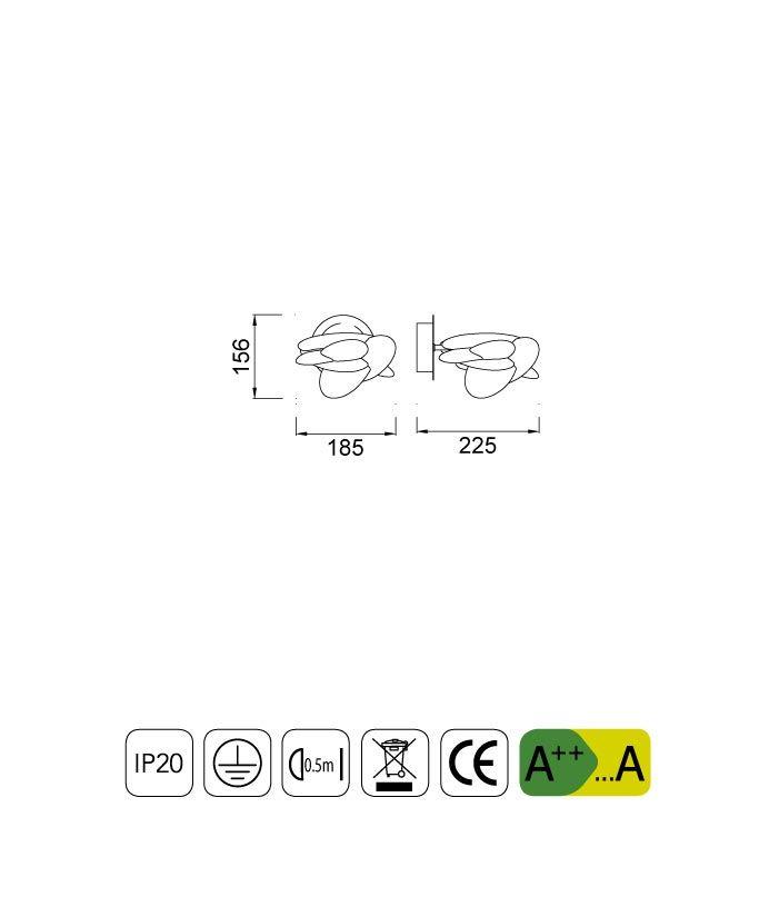 Medidas lámpara aplique pared NIDO LED