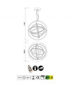 Medidas lámpara colgante dimmable mediana ORBITAL LED