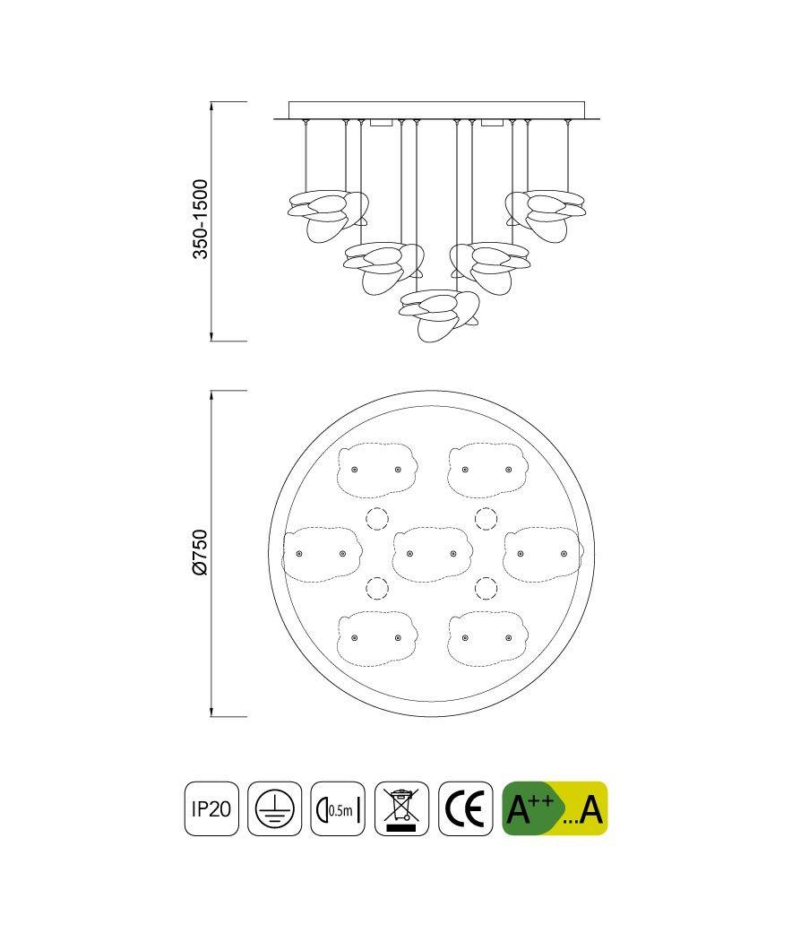 Medidas lámpara elegante techo NIDO LED