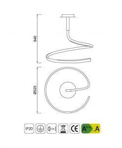 Medidas lámpara simple NUR plata cromo