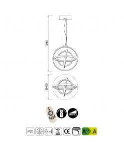 Medidas lámpara techo dimmable pequeña ORBITAL LED