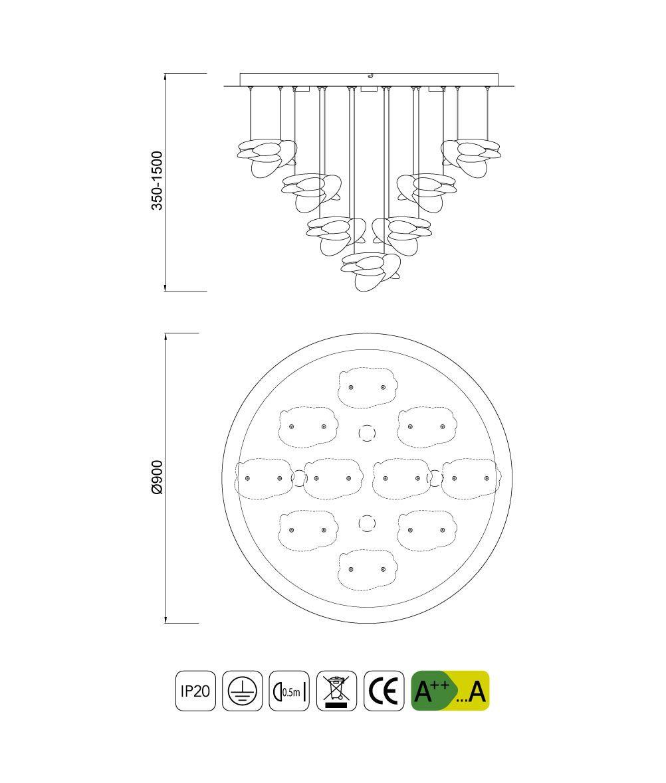 Medidas lámpara techo elegante cromo níquel NIDO LED