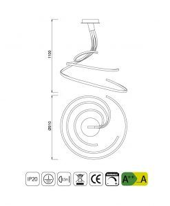 Medidas lámpara triple regulable NUR XL plata cromo
