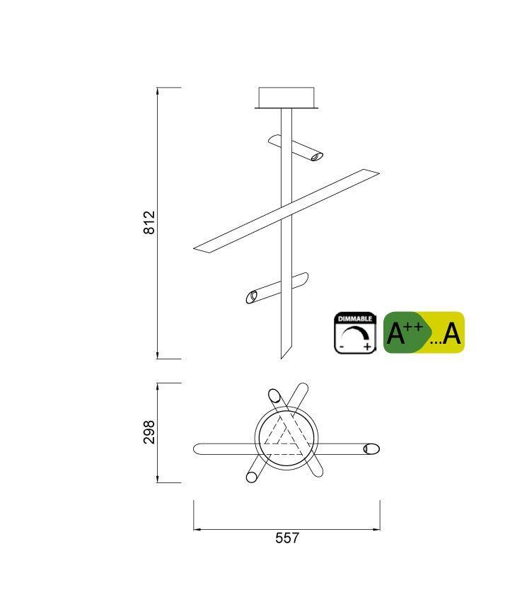 Medidas lámparas bajo consumo dimmable TAKE