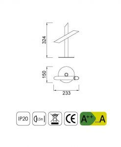 Medidas lámparas mesa LED minimalista blanca TAKE
