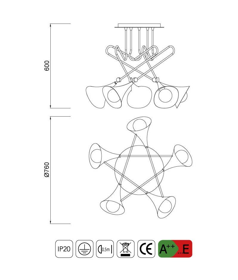 Medidas lámparas Mantra online semiplafón 5 luces JAZZ