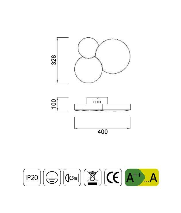 Medidas plafón circulos LUNAS LED