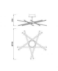 Medidas plafón Mantra moderno STAR LED