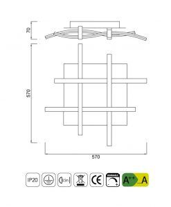 Medidas plafón regulable NUR plata cromo