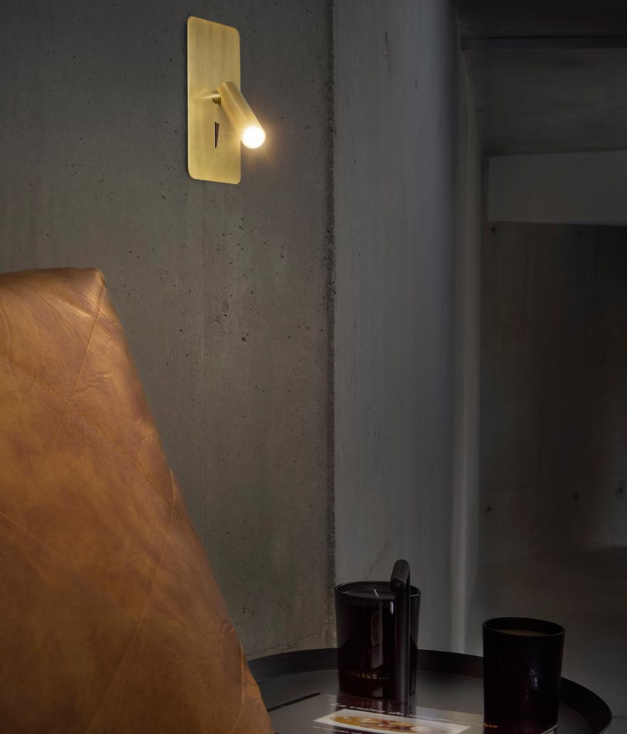 Aplique empotrable oro satinado SUAU LED ambiente