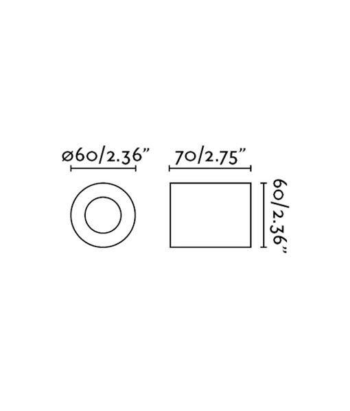 Medidas aplique o plafón minimalista blanco mate TEN