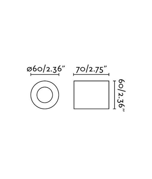 Medidas aplique o plafón minimalista negro mate TEN