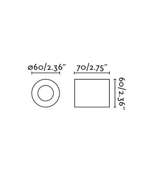 Medidas aplique o plafón minimalista níquel mate TEN