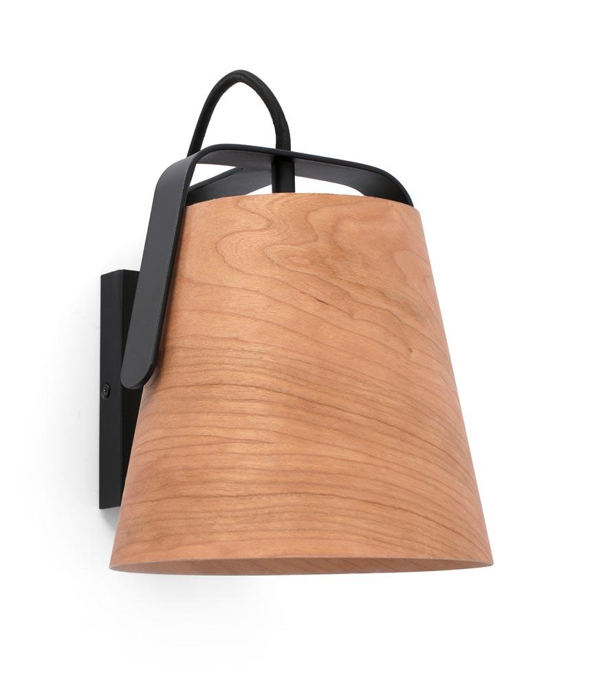 Lámpara aplique madera y negro STOOD detalle
