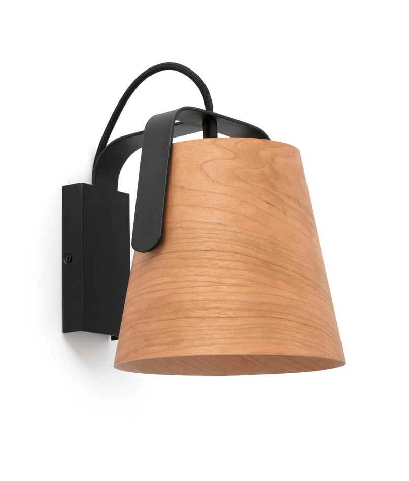 Lámpara aplique madera y negro STOOD - La Casa de la Lámpara