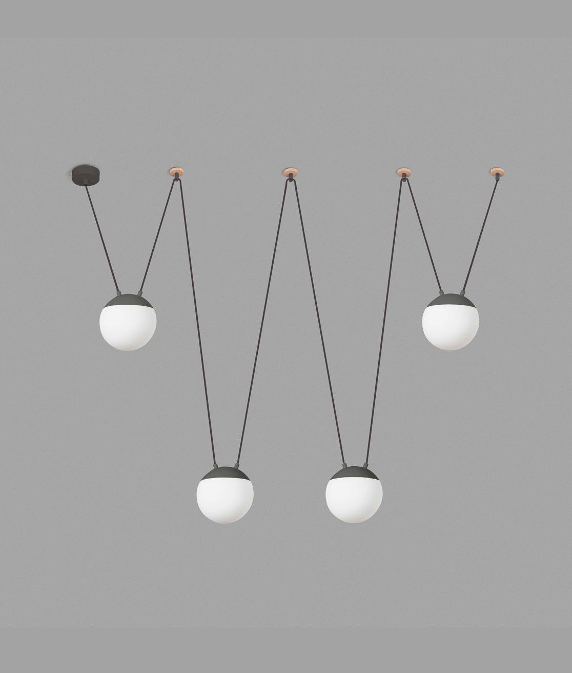 Lámpara de techo gris 4 luces MINE