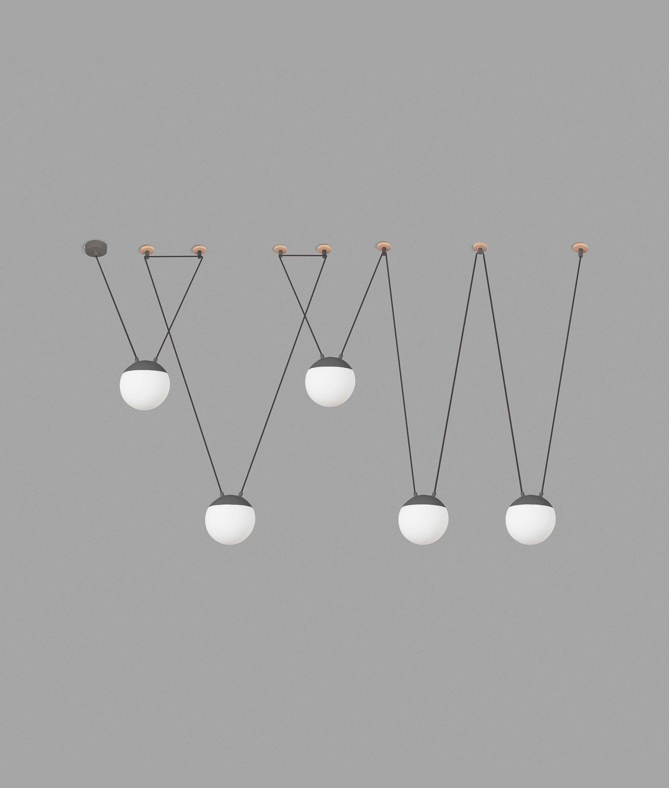 Lámpara de techo gris 5 luces MINE