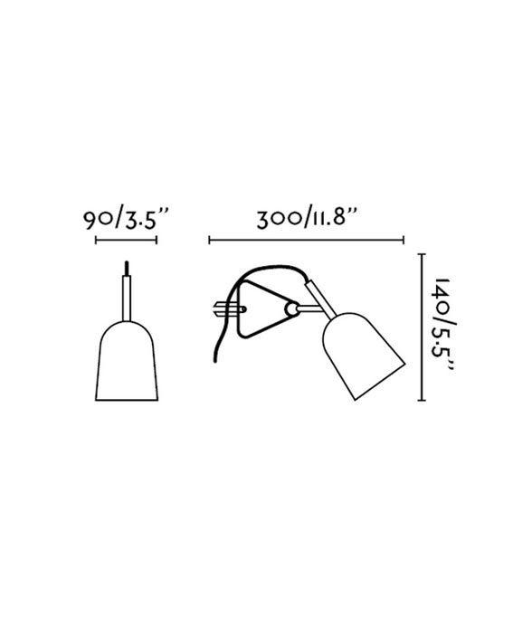 Medidas lámpara flexo soporte pinza blanco STUDIO