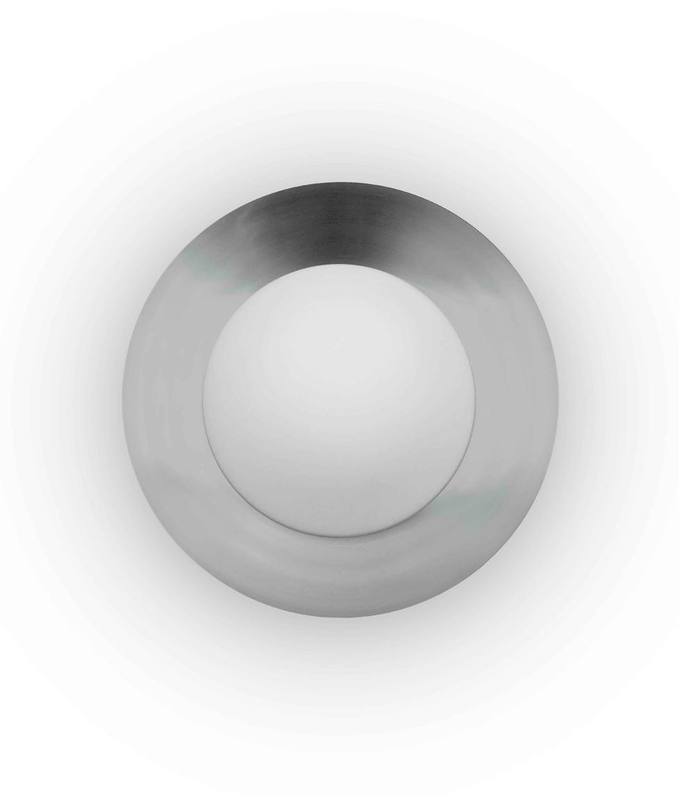 Plafón pequeño blanco y níquel SIDE LED detalle