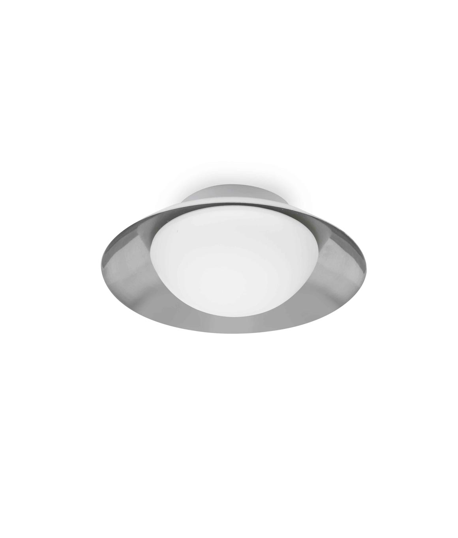Plafón pequeño blanco y níquel SIDE LED