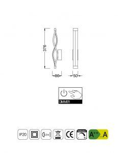 Medidas aplique dimable LED forja SAHARA