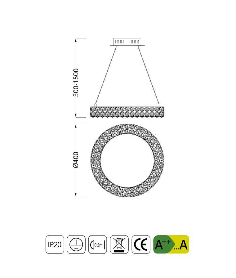 Medidas lámpara colgante elegante pequeña CRYSTAL LED