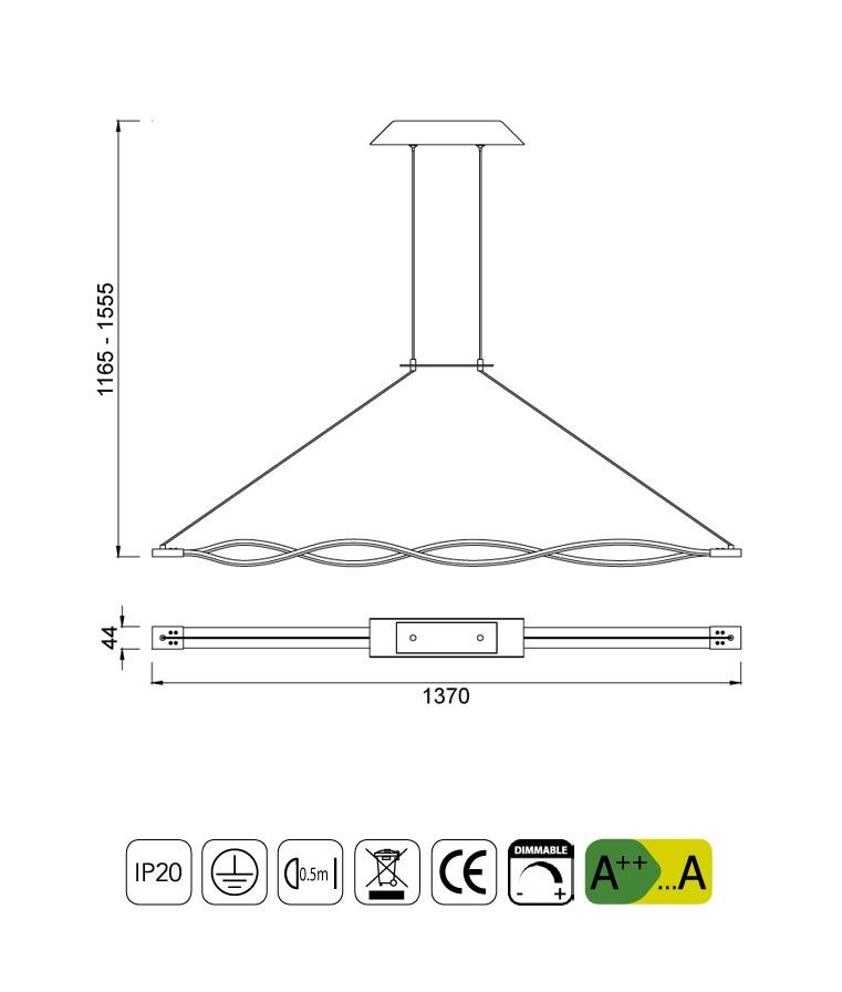 Medidas lámpara colgante grande LED dimmable plata SAHARA