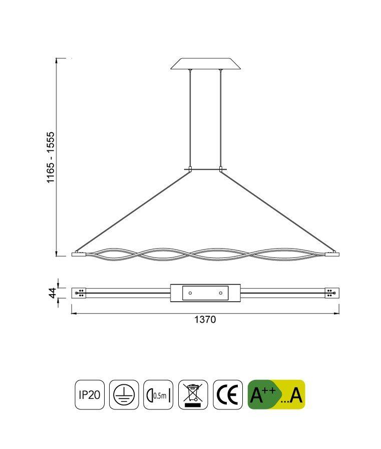 Medidas lámpara colgante grande LED forja SAHARA