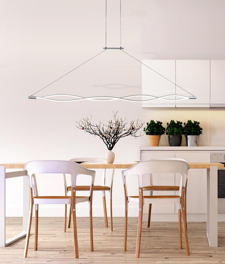 Lámpara colgante grande LED SAHARA plata ambiente