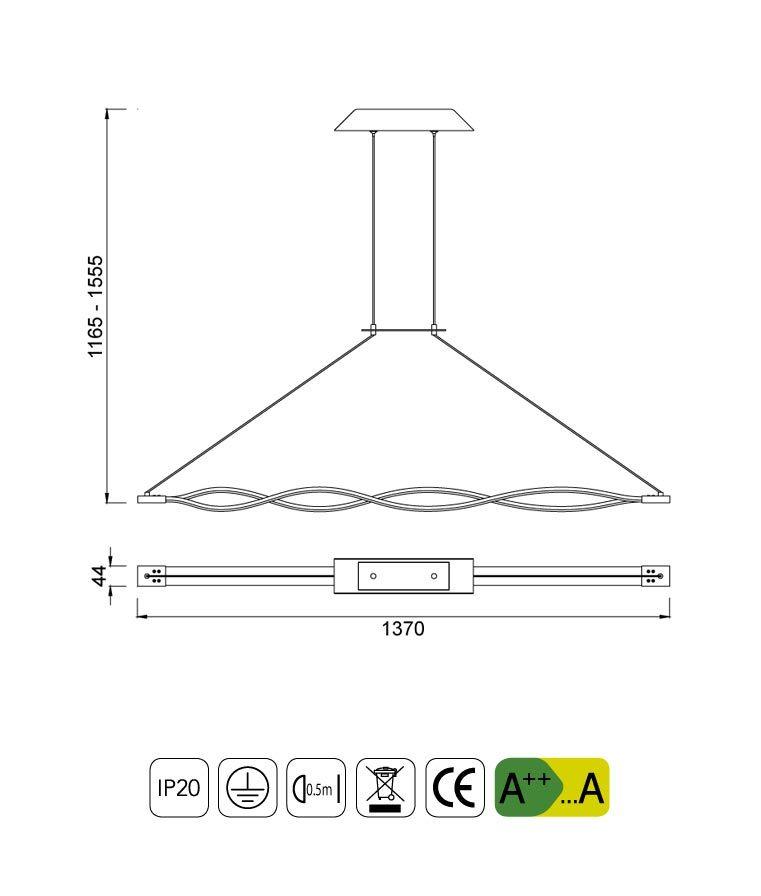 Medidas lámpara colgante grande LED SAHARA plata