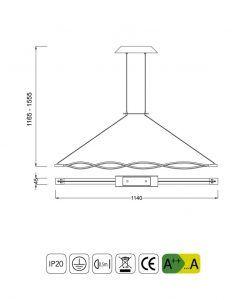 Medidas lámpara de techo acabado forja LED SAHARA
