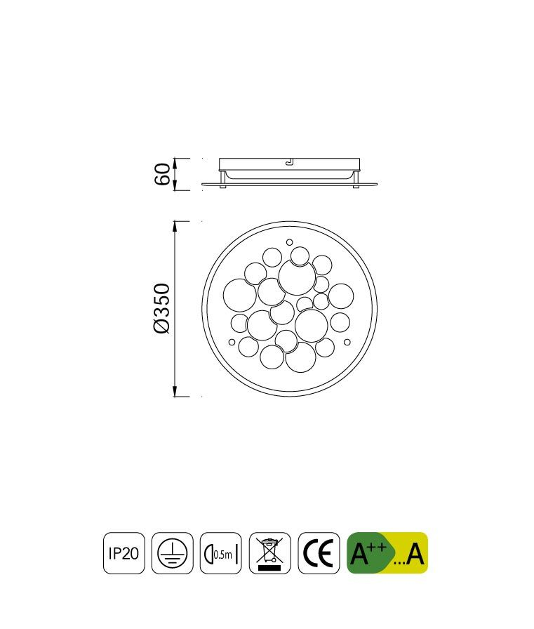 Medidas lámpara de techo cristal redonda CORAL LED