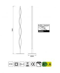 Medidas lámpara pie de salón grande LED SAHARA forja