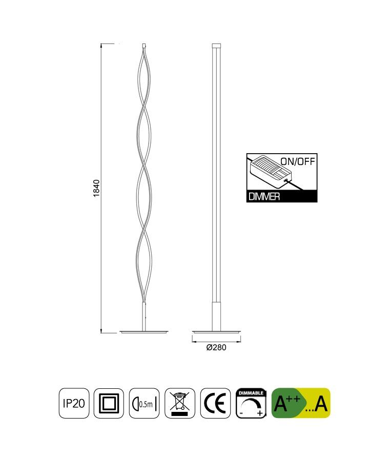Medidas lámpara pie de salón grande LED SAHARA plata