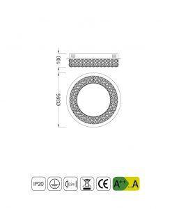 Medidas lámpara plafón circular elegante CRYSTAL LED