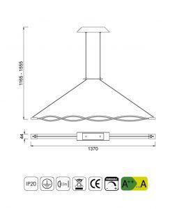 Medidas lámpara techo grande LED dimmable forja SAHARA