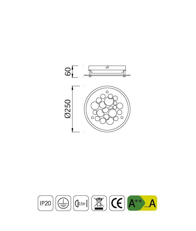 Medidas plafón circular de cristal CORAL LED