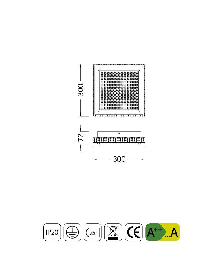 Medidas plafón cuadrado pequeño elegante CRYSTAL LED