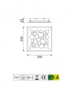 Medidas plafón de techo cuadrado CORAL LED