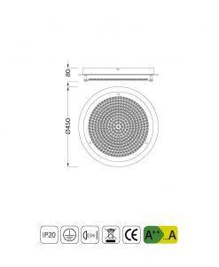 Medidas plafón grande CRYSTAL LED MIRROR