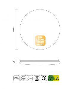 Medidas plafón grande luz cálida LED ZERO II