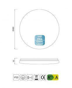 Medidas plafón grande luz fría LED ZERO II