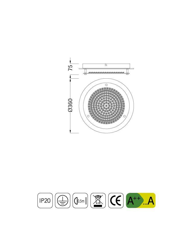 Medidas plafón mediano CRYSTAL LED MIRROR