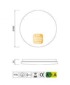 Medidas plafón mediano luz cálida LED ZERO II