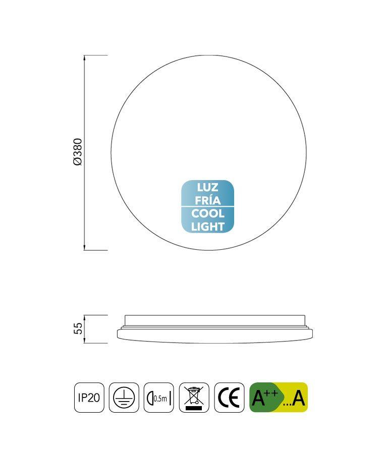 Medidas plafón mediano luz fría LED ZERO II