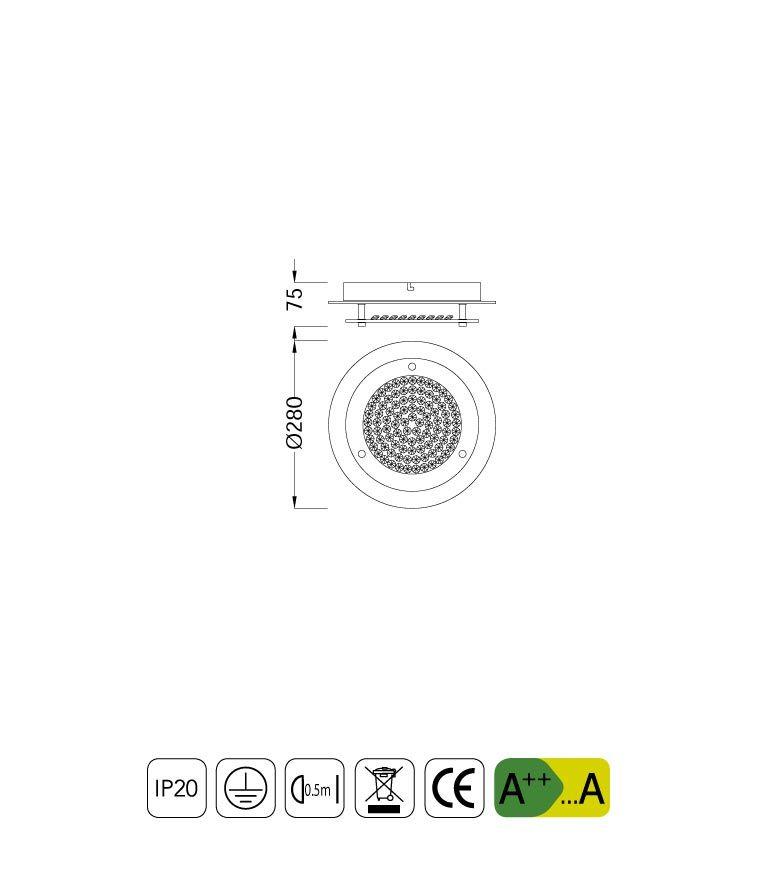 Medidas plafón pequeño CRYSTAL LED MIRROR