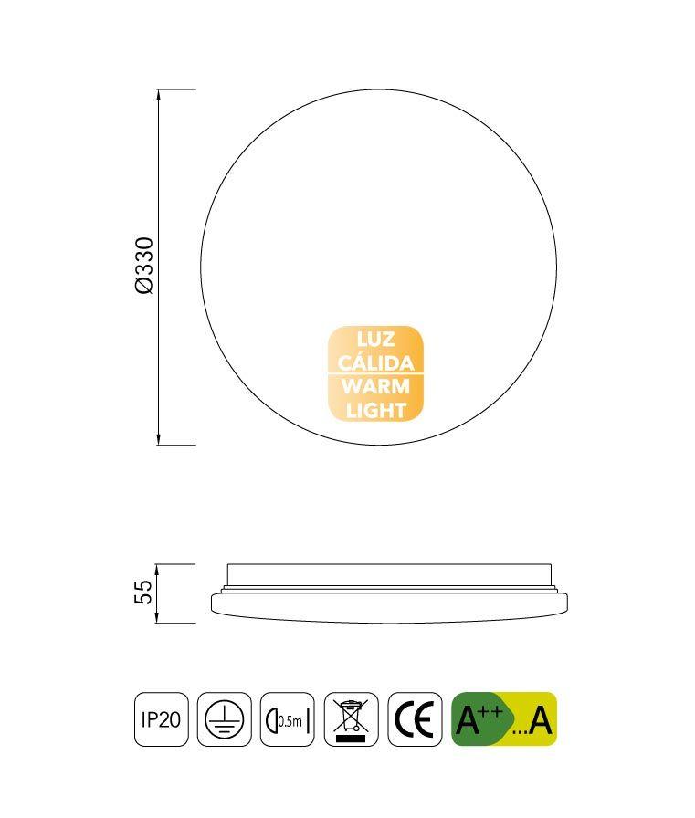 Medidas plafón pequeño luz cálida LED ZERO II
